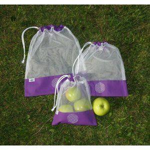 Hanabrand Nákupní sáček na potraviny - fialový (M) s květem života
